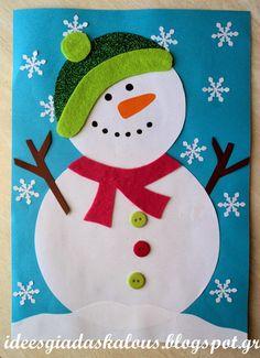 den Schneemann an! Kids Crafts, Winter Crafts For Kids, Christmas Crafts For Kids, Preschool Crafts, Kids Christmas, Holiday Crafts, Art For Kids, Christmas Decorations, Christmas Ornaments