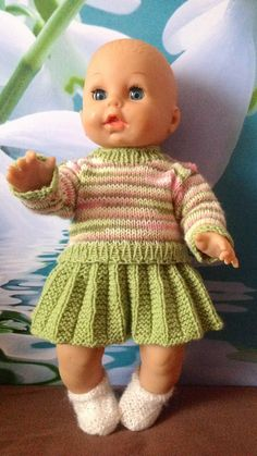 Knitted set: Skirt with pullover and socks Baby Born Clothes, Girl Doll Clothes, Girl Dolls, Baby Dolls, Baby Cardigan Knitting Pattern, Baby Knitting Patterns, Baby Patterns, Knitted Doll Patterns, Knitted Dolls
