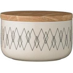 Bloomingville Jar with Bamboo Lid - Cream/Black Ø14,5xH8,5 cm - Rhombus
