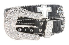 Snap On Rhinestone Cross Silver Circle Studded Snake Print Genuine Leather Belt Size: M/L - 38 Color: Black Made by #beltiscool Color #Black
