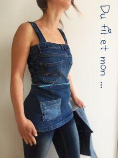 Recyclage de jeans by Du fil et mon ... Tablier, tunique ...