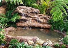 Garden Gnomes Etc sells Majestic Falls prefab pond & waterfall rock kits, koi ponds, artificial rocks, outdoor garden water features & backyard fountains. Large Backyard Landscaping, Ponds Backyard, Landscaping With Rocks, Landscaping Tips, Backyard Waterfalls, Patio Pond, Landscaping Melbourne, Sloped Backyard, Garden Ponds