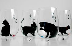 Cat and Yarn Stemless Wine Glasses
