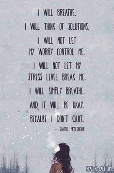 I will breathe  ...   I will think of solutions  ...   I will not let my worry control me  ...   I will not let my stress level break me  ...   I will simply breathe  ...   and it will be okay because I don't quit.