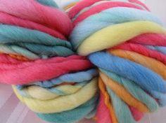 Super Bulky Rainbow Handspun Art Yarn 60 yards