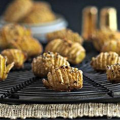 Baby Hasselback Potatoes - dressed-up baked potatoes are the perfect side for any meal. Tiny nuggets of golden goodness.