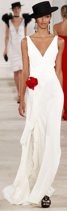 Ralph Lauren Beyaz Abiye Ralph Lauren İlkbahar Yaz Hazır Tasarımcı Abiye Giyim için