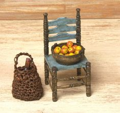 Shabby Chic Miniature Wooden Chair for Your by DinkyWorld on Etsy