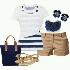 Summer Nautical Fashion Love the whole outfit! Cruise Outfits, Mode Outfits, Casual Outfits, Fashion Outfits, Womens Fashion, Cruise Wear, Fashion Ideas, Striped Outfits, Fashion Fashion