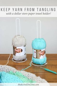 Yes! Use dollar store paper towel holders to keep yarn organized while knitting or crocheting. (Especially great DIY yarn holders for c2c crochet!)