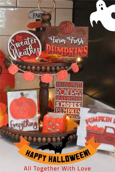 Beautiful Fall Tiered Tray mini wood signs for your home. Signs can be purchased as a bundle or separately.