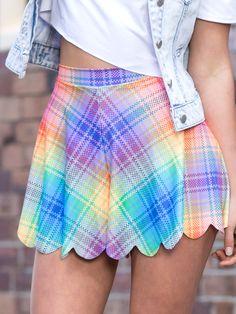 Tartan Rainbow Shorties (WW 48HR $50AUD / US - LIMITED $45USD) by Black Milk Clothing