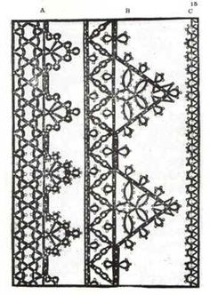 lace patterns le Pompe 1559  Pattern for Venetian Bobbin Lace