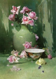 Pink and green--Beautiful Still Lifes by American Painter Soren Emil Carlsen (1853-1932) ~ Blog of an Art Admirer