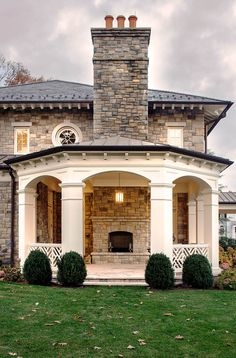"""georgianadesign: """"'Stone sophistication' in Belle Haven, CT. JBMP Architecture and Interior Design. Outdoor Rooms, Outdoor Living, Outdoor Stuff, Residential Architecture, House Architecture, Architecture Details, Custom Homes, Beautiful Homes, House Design"""