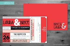 Wedding Invitation - Ticket Style - Concert, Movie, Theatre - Wedding Invitation and RSVP Card Set - A Popular Wedding Style. $50.00, via Etsy.