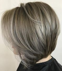 Ash Brown Layered Bob With Highlights