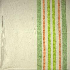Orange Green Stripes, Natural Cotton Print Fabric, Medium Weight, half yard, B10 by DartingDogFabric on Etsy