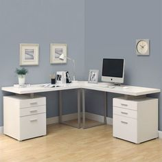 "Lowest price online on all Monarch Hollow-Core 3 Piece 48"" L Shaped Desk Set in White - I 7027-3"