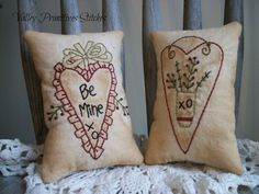 Primitive Valentine's Day Pillows Hand by valleyprimitives on Etsy, $12.95