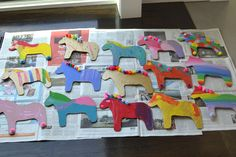 Cut Dala horse shapes from cardboard and let the kids paint and embellish - perfect party craft! Craft Party, Craft Stick Crafts, Paper Crafts, Kids Crafts, Kids Art Class, Art For Kids, Art Education Projects, Horse Party, Pony Party