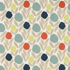 Serena Natural/Multi - Laura Ashley Wallpapers - A bold contemporary floral design with a weave fabric effect look background, Red, blue, lime and duck egg blooms, with beige leaves. Please request sample for true colour match.