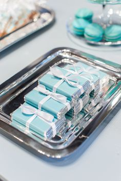 Tiffany blue chocolate favors: http://www.stylemepretty.com/2015/11/17/tiffany-blue-wedding-details-for-a-glamorous-day/
