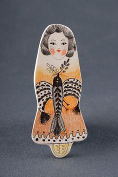 Miniature Bird Girl Pin Clay Brooches Handmade by DoubleFoxStudio, $40.00