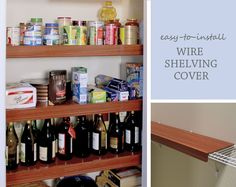Get the look of a custom kitchen pantry without the expense! Available in 4 colors, these faux-wood shelf covers fit over your existing wire shelving – a quick and inexpensive way to update your kitchen pantry.