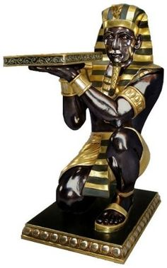 life-size Nubian servant sculpture kneels tray of art sevice artwork. African Interior, Egyptian Pharaohs, Classic Furniture, Living Room Kitchen, Ancient Egypt, Modern Classic, Hand Painted, Sculpture, Statue
