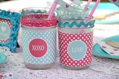 Dressed up mason jars for a Valentine Party #valentinesday #masonjar