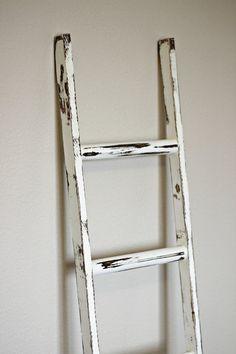 """Ladder Vintage Rustic, Blanket Ladder, distressed whitewash pot rack, White Wood Furniture, 5"""", woodworking, step ladder, wood on Etsy, $45.00"""