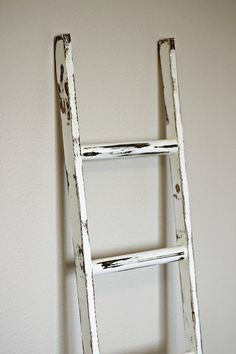 "Ladder Vintage Rustic, Blanket Ladder, distressed whitewash pot rack, White Wood Furniture, 5"", woodworking, step ladder, wood on Etsy, $45.00"