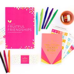Everything you need to add to your PowerSheets Intentional Goal Planner. 2018 Sticker Book, NEW! Washi Tape, Pen Set (exclusive to this bundle), and Fruitful Friendships Workbook!