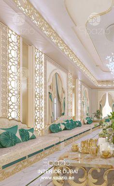 Arabic majlis interior design in modern luxury style. The design was created by Spazio interior design company in Dubai. Get design ideas. Interior Design Dubai, Interior Design Companies, Luxury Homes Interior, Luxury Home Decor, Modern Interior, Arabian Bedroom, Arabian Decor, Moroccan Design, Moroccan Colors