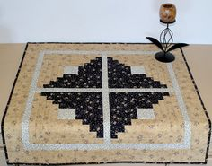 Quilted Snowman Table topper  Winter Log Cabin by RedNeedleQuilts, $59.00