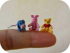 crocheted mini pooh, piglet and eeyore! soo cute!