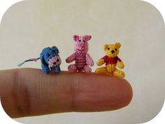 crocheted mini pooh, piglet and eeyore! soo cute!