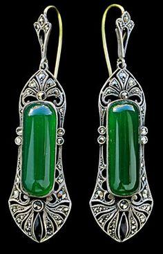THeodor Fahrner----  Art Deco Earrings  ----  Silver Chalcedony Marcasite  ----  German, c.1920, I love them !!