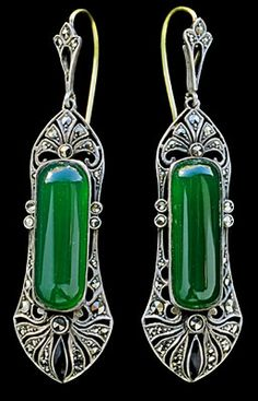 THEODOR FAHRNER  ----  Art Deco Earrings  ----  Silver Chalcedony Marcasite  ----  German, c.1920