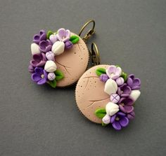 Ceramic Jewelry, Polymer Clay Earrings, Biscuit, Humpty Dumpty, Cute Clay, Polymer Clay Flowers, Clay Miniatures, Handmade Flowers, Clay Art
