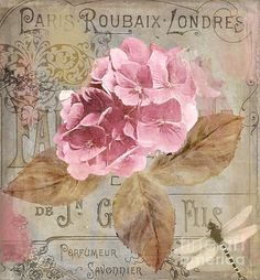 Create romantic ambiance with a Parisian accent by bringing the Courtside Market Jardin Rouge II Wall Art into your home. This museum-quality print. Decoupage Vintage, Decoupage Paper, Vintage Paper, Vintage Flowers, Vintage Floral, Pink Flowers, Vintage Labels, Vintage Images, Vintage Prints