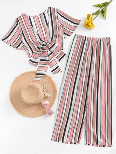 Knot Front Striped Top With Pant -SheIn(Sheinside) Girls Fashion Clothes, Teen Fashion Outfits, Girl Outfits, Fashion 2017, Ladies Fashion, Simple Summer Outfits, Teenage Outfits, Cute Comfy Outfits, Two Piece Outfit