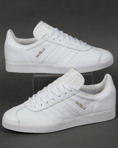 reputable site 8c84e 92051 Adidas Leather, Gazelle, White, Trainers, Stripes, Og Adidas Gazelle White,
