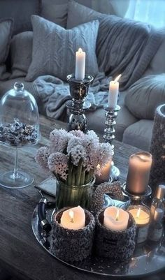 Cozy Room- crocheted candle holders on a silver charger
