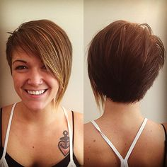 Layered Haircuts For Fine Hair Back View Mom Hairstyles, Haircuts For Fine Hair, Layered Haircuts, Short Asymmetrical Haircut, Asymmetrical Hairstyles, Short Hair Cuts, Short Hair Styles, Pixie Cuts, Trending Haircuts