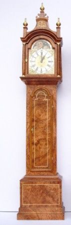 1:12th scale miniature Pagoda Burr Walnut standing clock