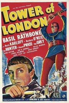 Tower of London (1939) Starring Basil Rathbone and Boris Karloff. Movie Poster #1939