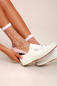 We can't contain our excitement for the Softer Side Sheer Blush Pink Socks! A sweet swiss dot print decorates sheer mesh socks finished with solid bottoms and cuffs. Measures from heel to top of cuff (relaxed). One size fits most. Mesh Socks, Sheer Socks, Lace Socks, Pink Socks, Socks And Heels, Ankle Socks, Looks Rockabilly, Polka Dot Socks, Polka Dots