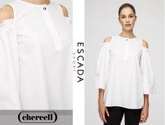 Las mangas acampanadas y los hombros descubiertos son el punto original de esta blusa de #EscadaSport.  Además, su espalda plisada consigue dar ese toque elegante a tus outfits. ¡Consíguela ya en Chercell! ❣️www.chercell.es❣️